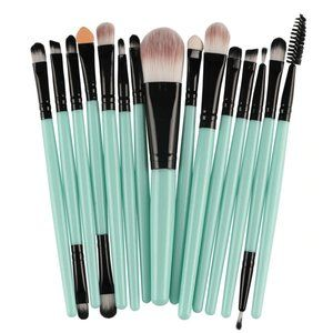 NEW 15 pcs Green Pro Makeup Brush Set
